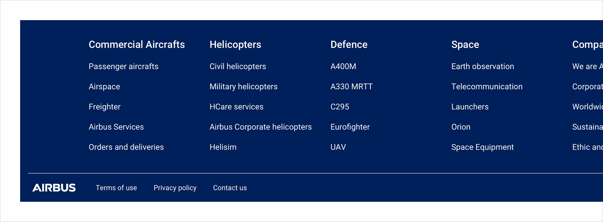 Picture shows a footer from the Airbus.com website with different links.