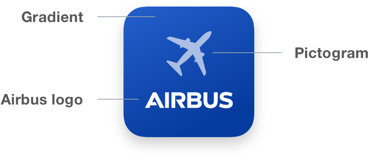 App icon is composed of a gradient background, a pictogram and the Airbus logo.