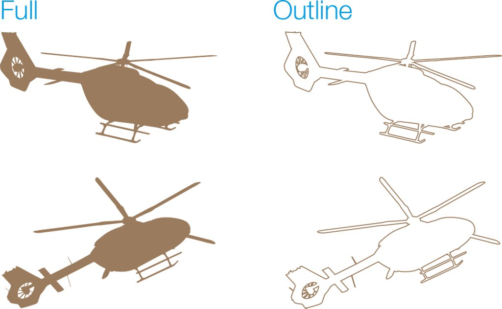 Acj Ach Heilcopter Silhouettes