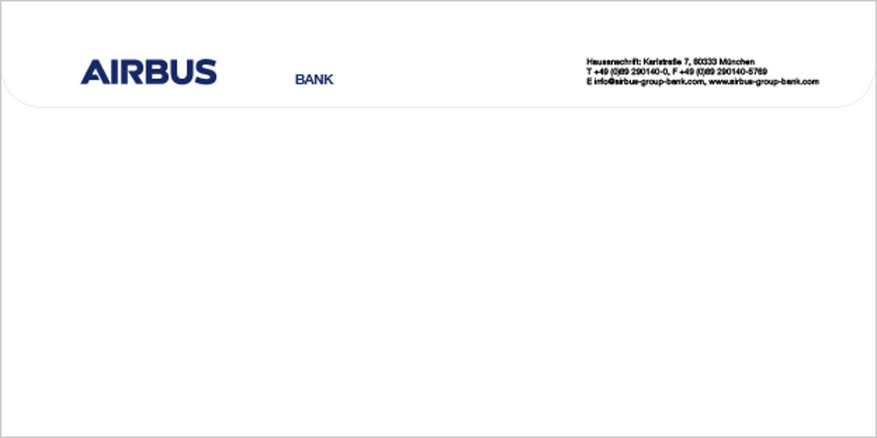 Airbus Bank Stationery Envelope Back
