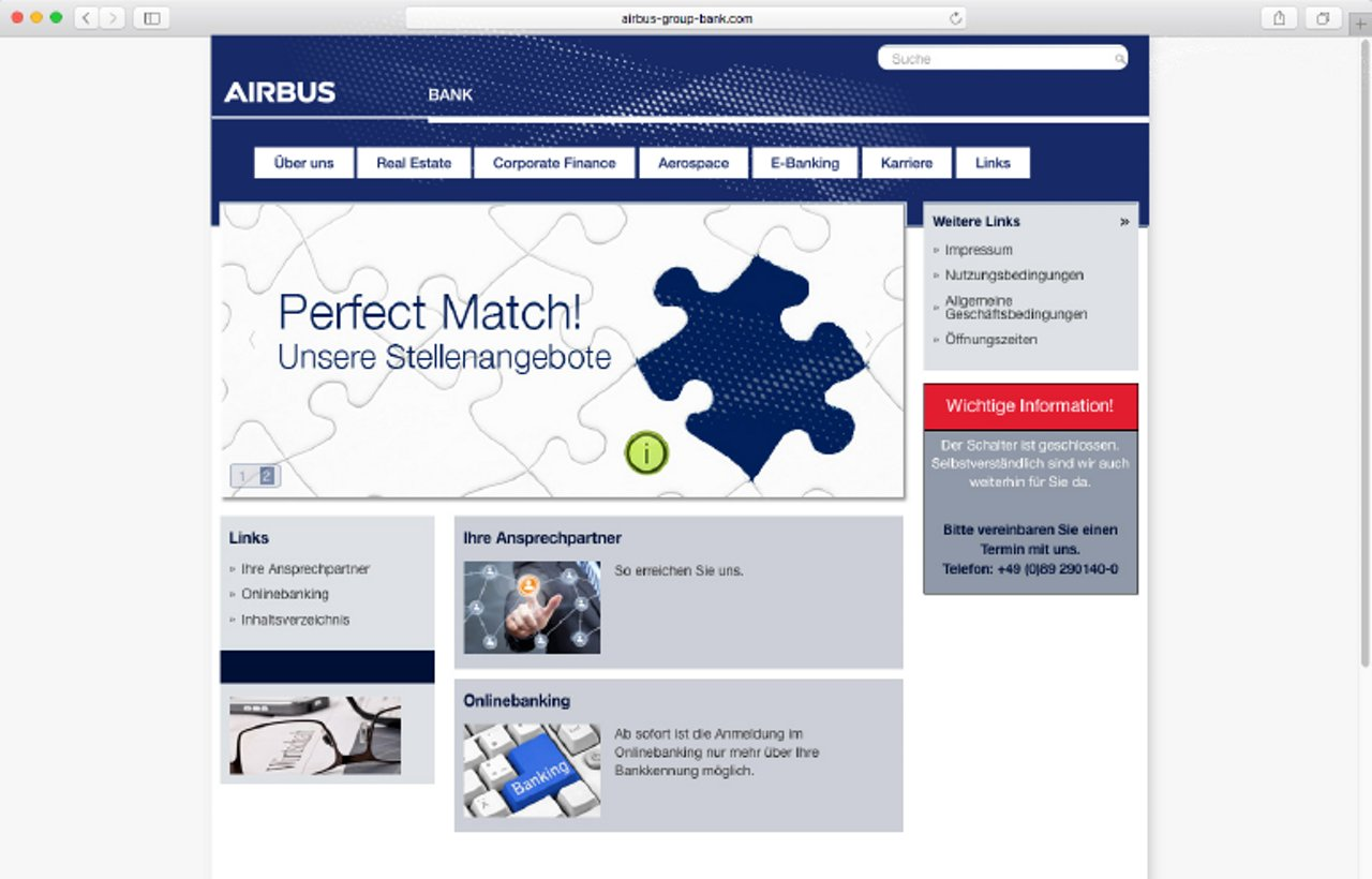 Airbus Bank Website