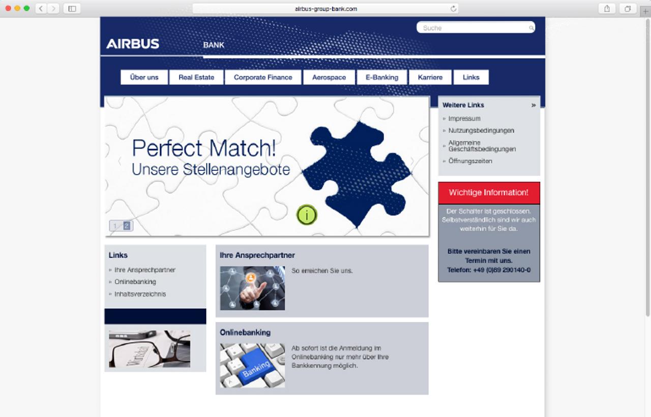 Airbus Bank Website