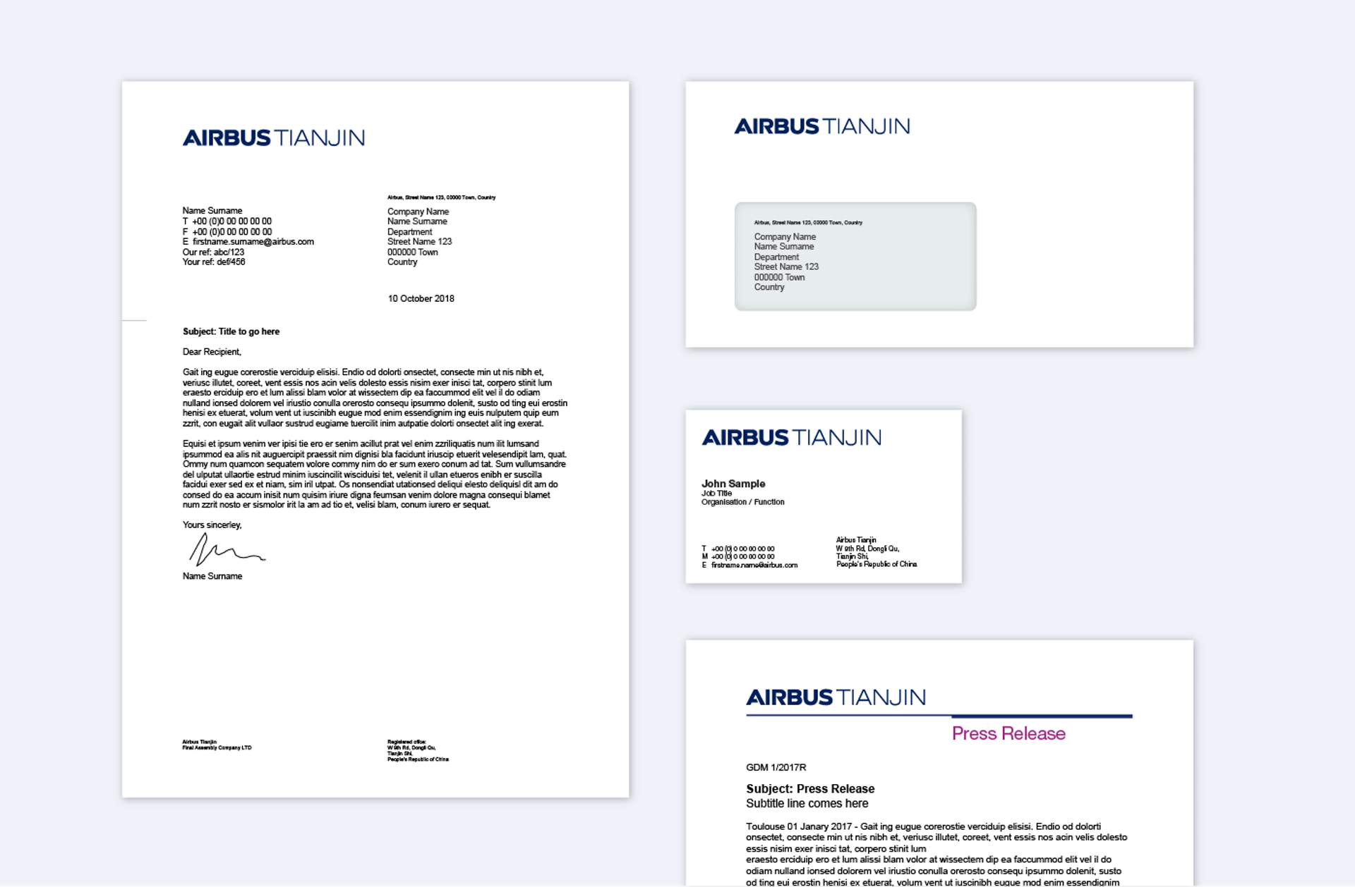 Airbus TJ Stationery