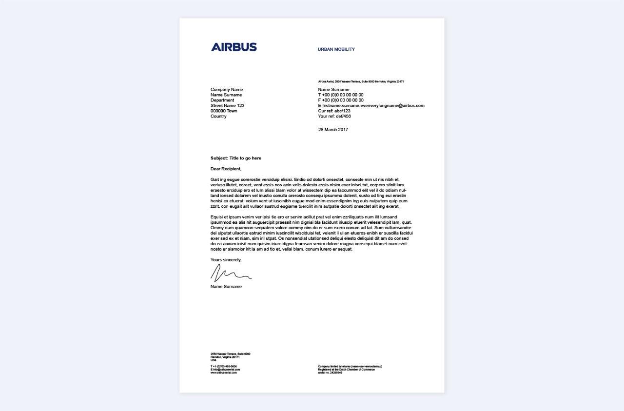 Airbus Urban Mobility Letterhead