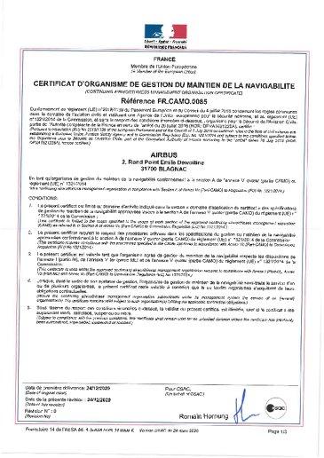 CAMO certificate FR.CAMO.0085