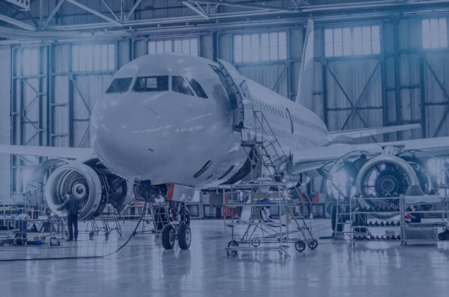aircraft on maintenance of engine and fuselage repair in airport hangar