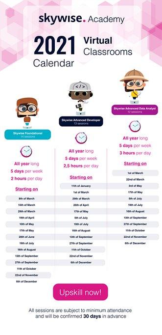 Skywise Academy 2021 Calendar Virtual Classrooms