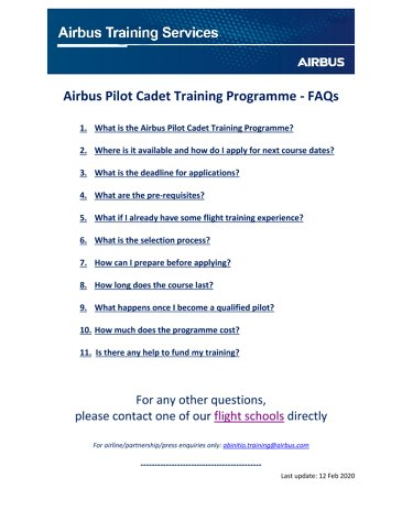 Airbus Pilot Cadet Training Programme - FAQs - 2020