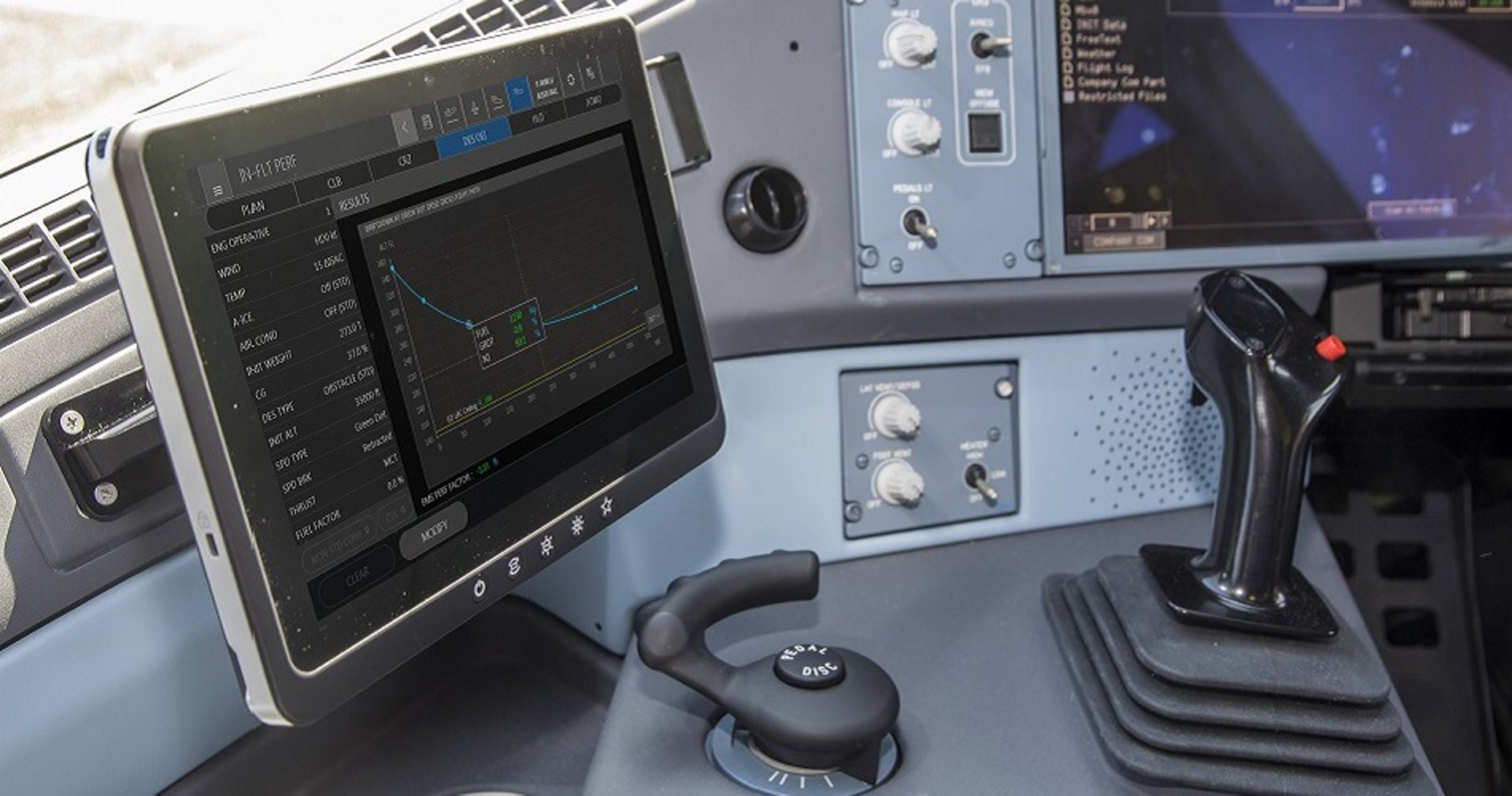 Electronic Flight Bag installed in a cockpit