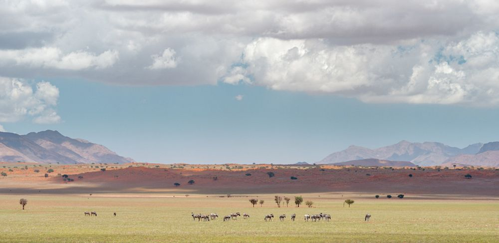 A horizontal shot of landscape at the Namib desert in Namibia under the cloudy sky