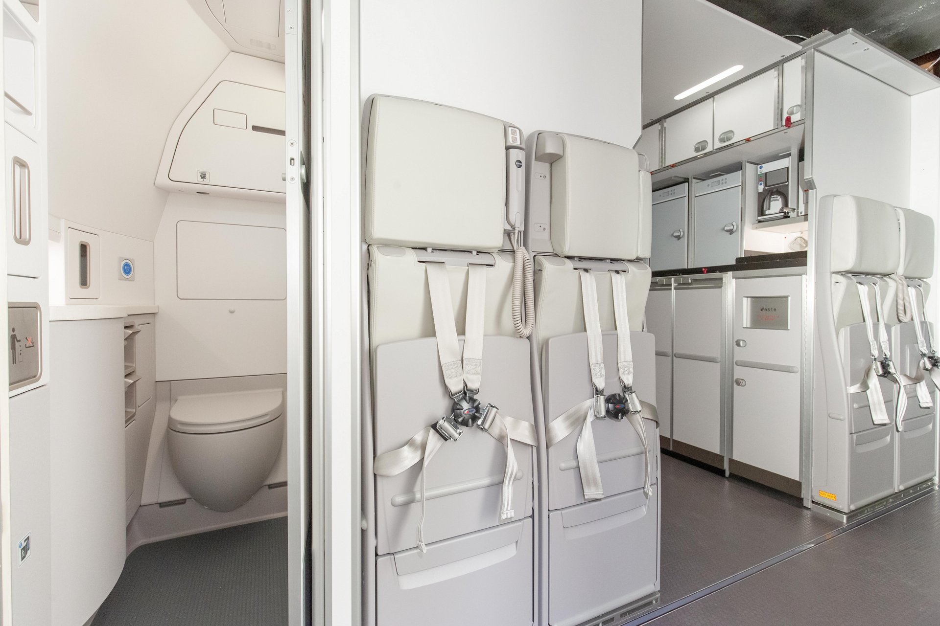 Efficient cabin configuration which enables to install additional lavatories including PRM capability to improve the seat count.