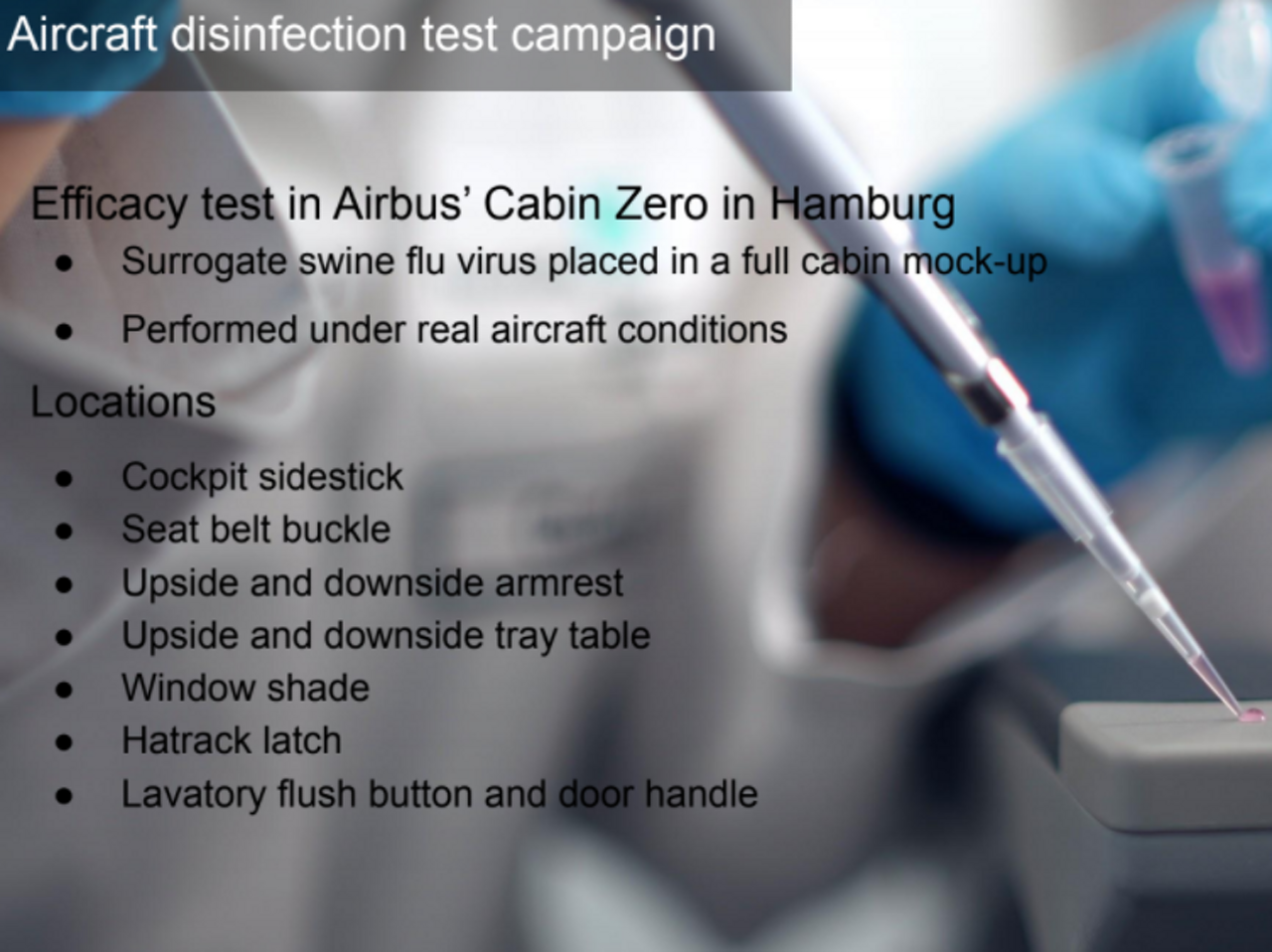 2b Aircraft Disinfection Test  Campaign