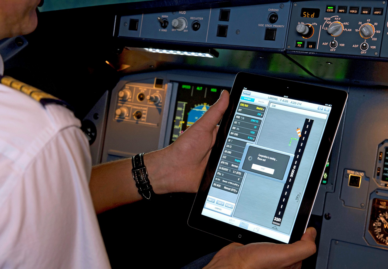 Pilot Laptop Simulator Close Up Cropped