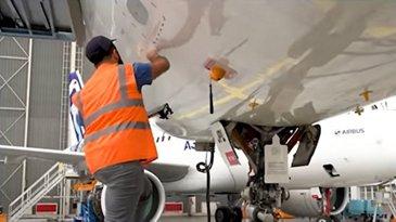 eTech 3D Repair - mechanic working on aircraft structural damage