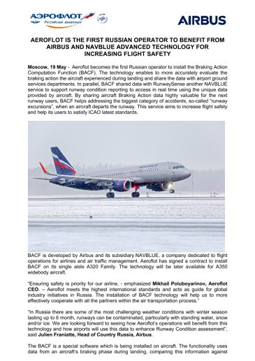Aeroflot becomes to first Russian operator to benefit from AIRBUS AND NAVBLUE advanced technology