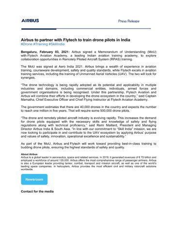 Press Release - Airbus to partner Flytech to train drone pilots in India