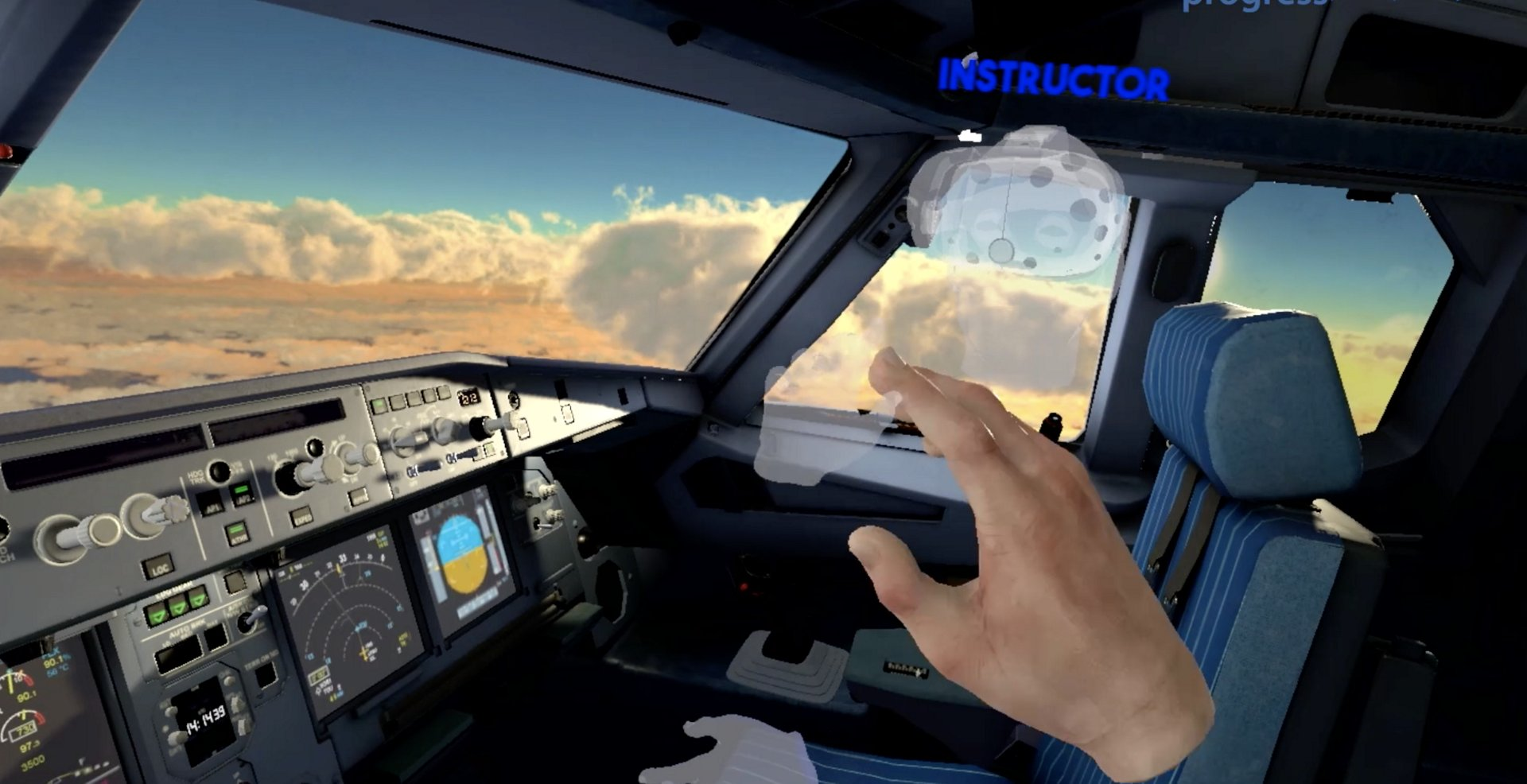 The pilot trainee will interact with a training partner and with the Airbus instructor or a virtual instructor, being located in the same room or anywhere else.