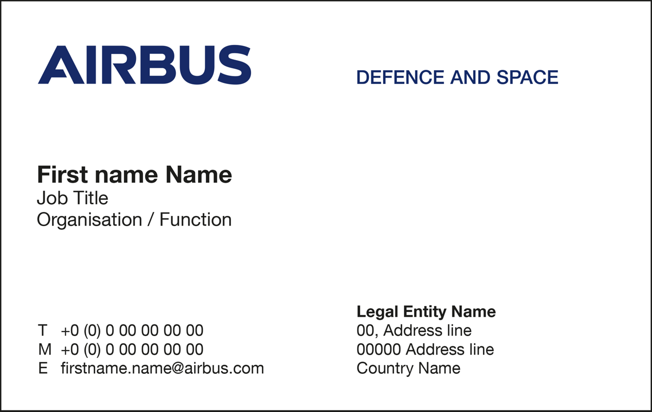 Airbus Cybersecurity Stationery Business Card