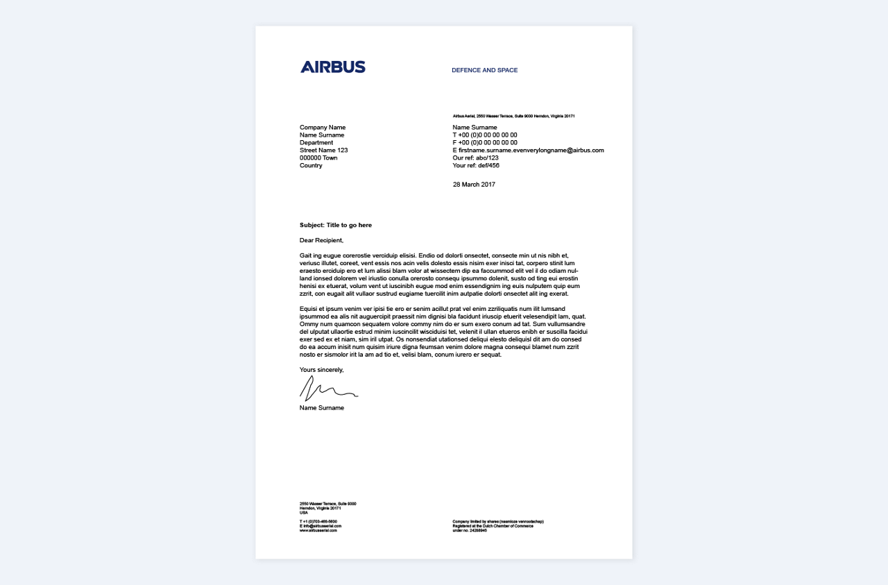 Airbus Cybersecurity Stationery Letterhead