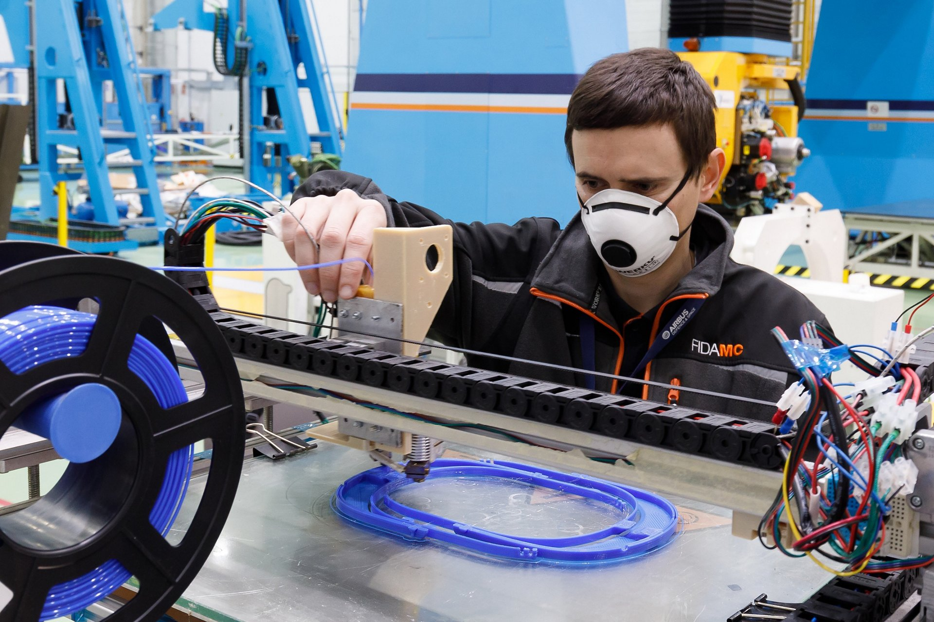 Employees from Airbus in Spain are working around the clock to produce protective equipment using 3D printing technology