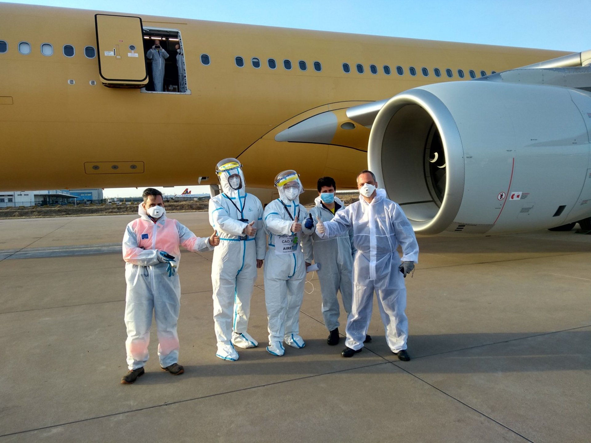 An all-volunteer crew from Airbus Defence and Space – including pilots, ground crew specialists, test flight engineers and a flight test engineer – pulled together to deliver life-saving medical supplies that will be used across France, Germany, Spain and the United Kingdom; the mission utilised an Airbus A330-300 that ultimately will be converted into an A330 Multi-Role Tanker Transport