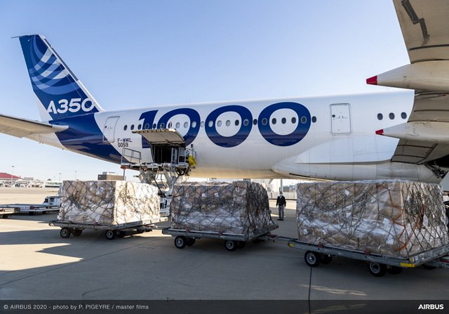 Boxes of protective face masks are ready for loading onto the A350-1000 aircraft, as part of an early April mission flown by an Airbus flight test crew