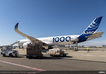 A350-1000 cargo unloading in France