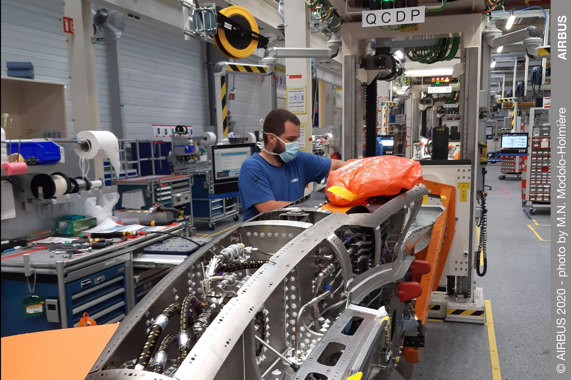 Operations have resumed at Airbus' Saint-Eloi factory, which manufactures pylons that integrate jet engines on the wings of all Airbus aircraft families