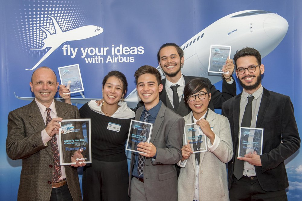 A group photo of Team Retrolley from the University of São Paulo, runners-up in Airbus' 2015 Fly Your Ideas student challenge.