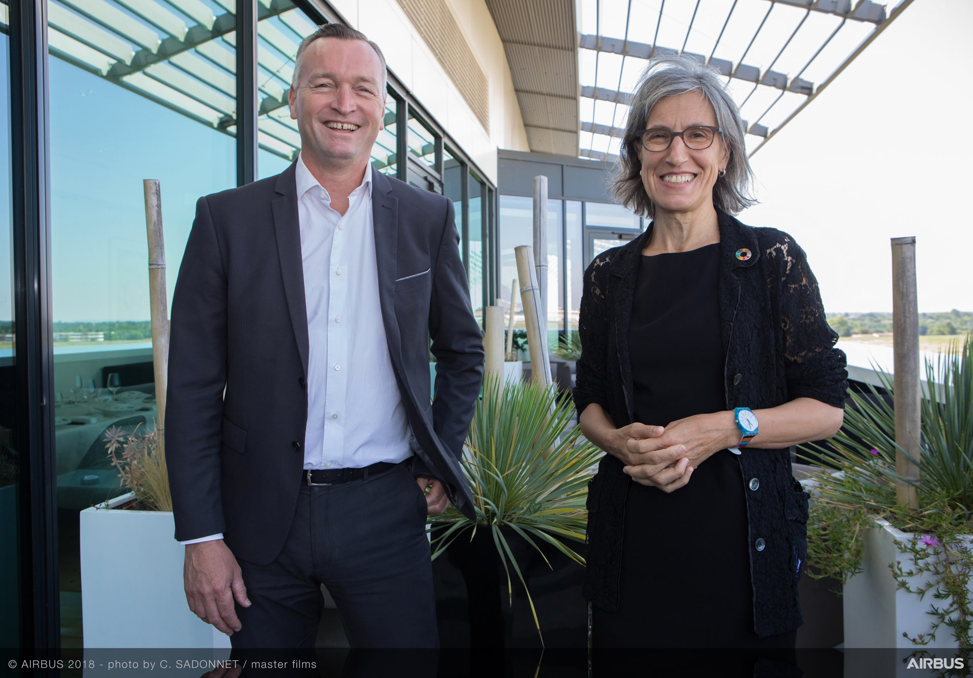 At Airbus headquarters in Toulouse, France following signing of the renewed Fly Your Ideas student challenge partnership agreement between UNESCO are (from left to right): Marc Fontaine, Digital Transformation Officer, Airbus; and Flavia Schlegel, Assistant Director-General for Natural Sciences, UNESCO