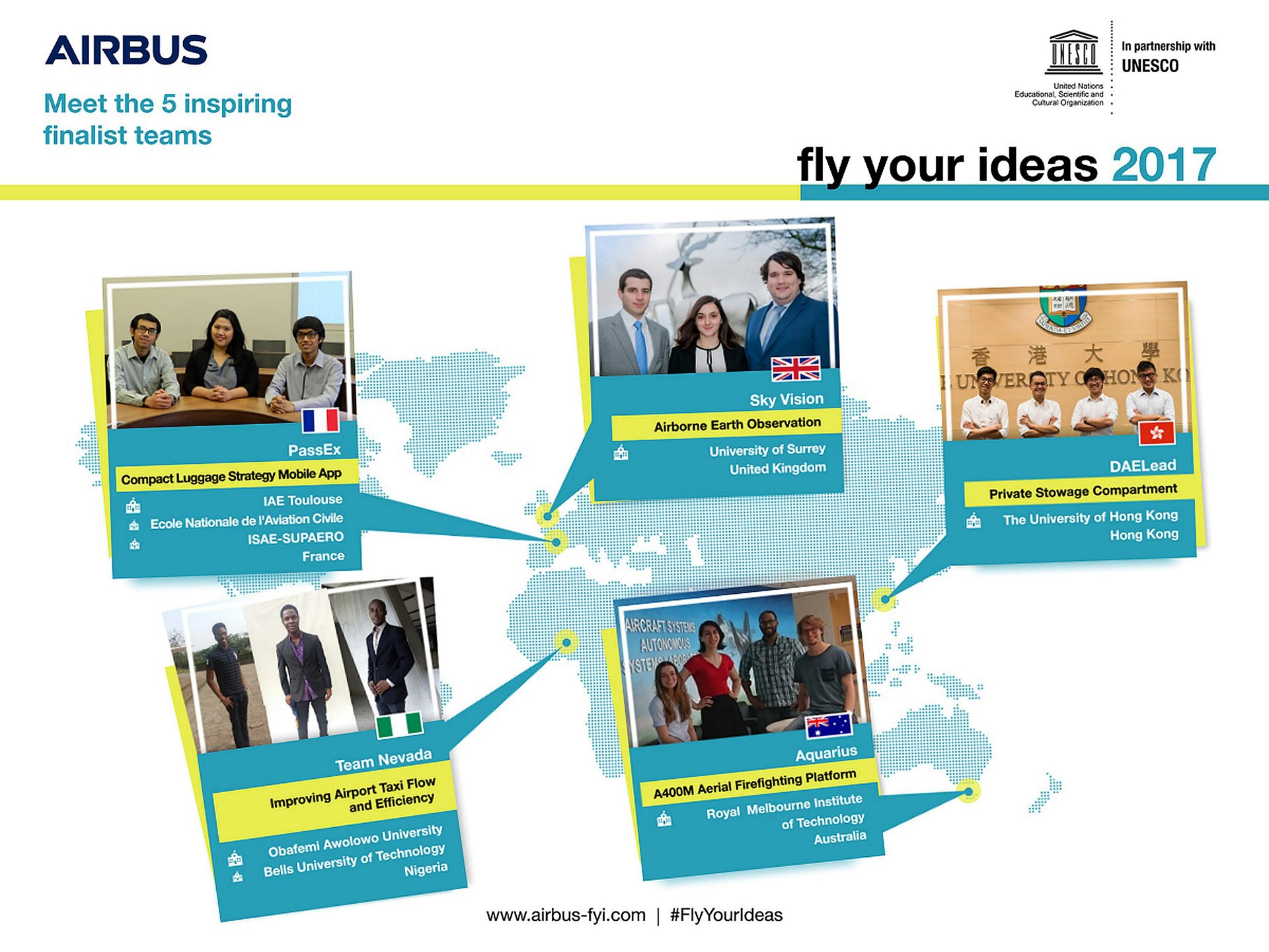 Airbus has shortlisted the five finalist student teams competing in the fifth edition of the Fly Your Ideas challenge