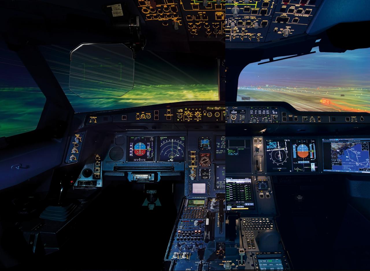 Cockpit A330neo a sinistra e A350 a destra Credits: Airbus
