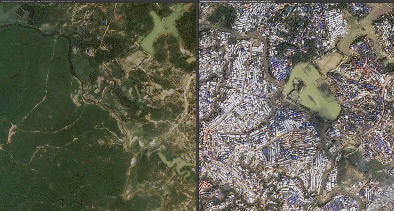 Satellite imagery supplied by an Airbus-produced spacecraft.