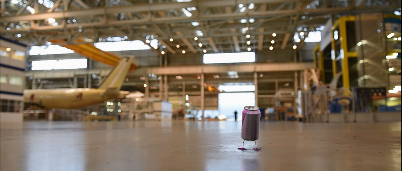 "This frame capture from an animated video shows how a recycled soda can could have a ""second life"" as the result of Airbus' roadmap for reducing the environmental footprint of its industrial activities"
