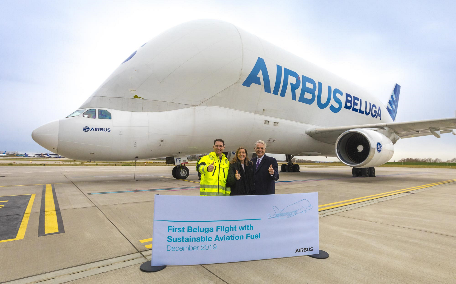 In December 2019, Beluga ST is starting to use Sustainable Aviation Fuel in Hamburg. The sustainable fuel used for the Beluga fleet comes from used cooking oil