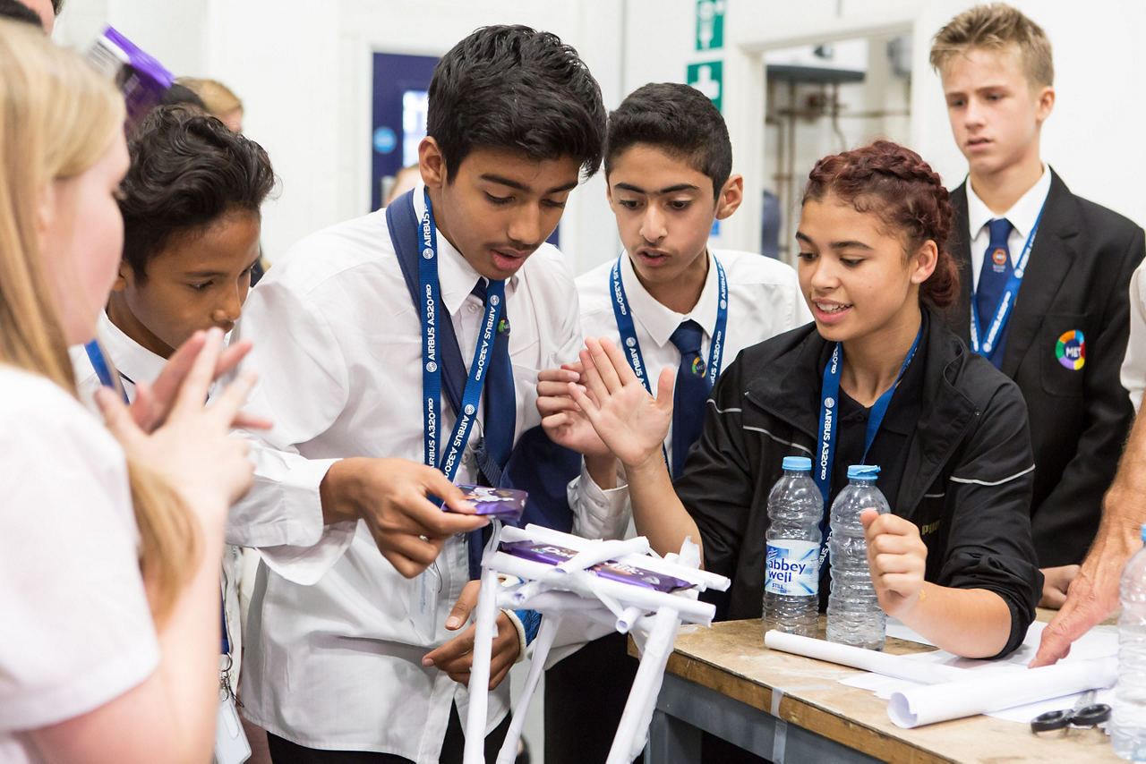 A group of students work together as part of the Airbus Foundation's Flying Challenge in the UK.