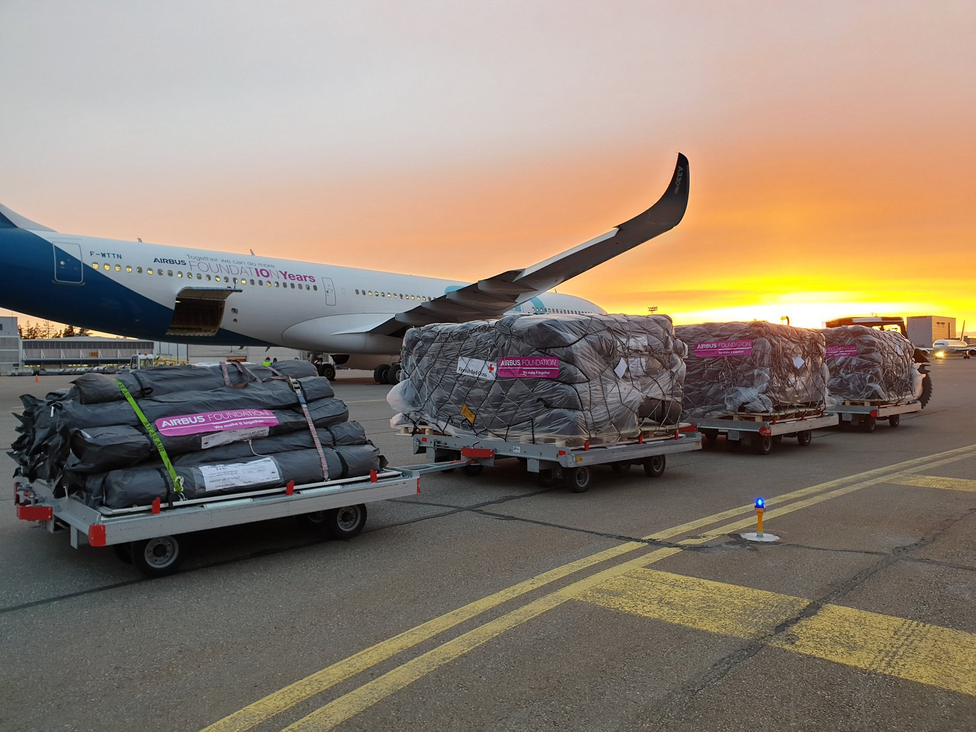 The Airbus Foundation has organized a relief flight, using an A330-900 test aircraft, to Kabul in partnership with the International Federation of the Red Cross and Red Crescent Societies and the Finnish Red Cross.