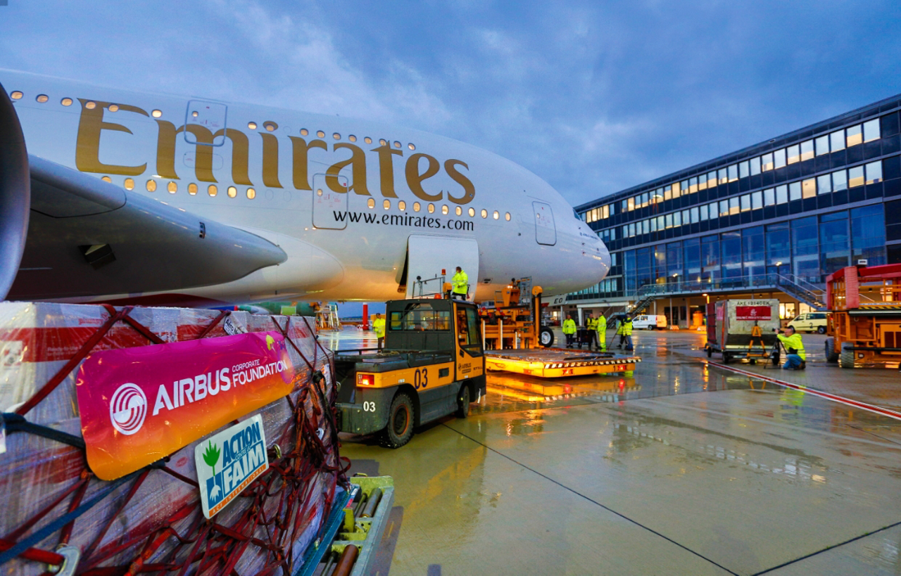 Medical and school supplies are transported on the ferry flight for an Airbus A380 delivered to Emirates.