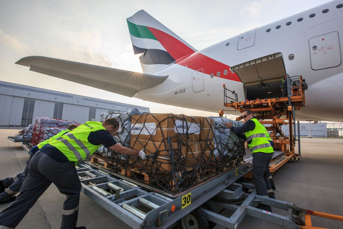 Emergency shelter items are loaded on board of an Emirates A380 flying from Hamburg to Dubai.