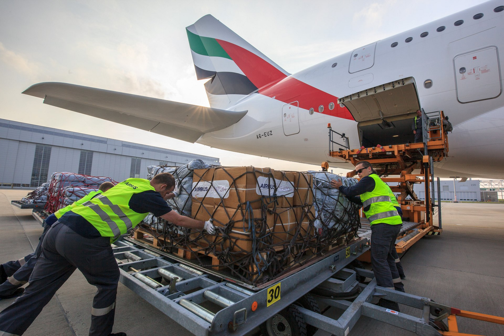 Emergency shelter items are loaded on board of an Emirates A380 flying from Hamburg to Dubai. The Airline, the Airbus Foundation and the NGO Welthungerhilfe have joined forces to bring the goods to the United Nations Humanitarian Response Depot (UNHRD) in Dubai.