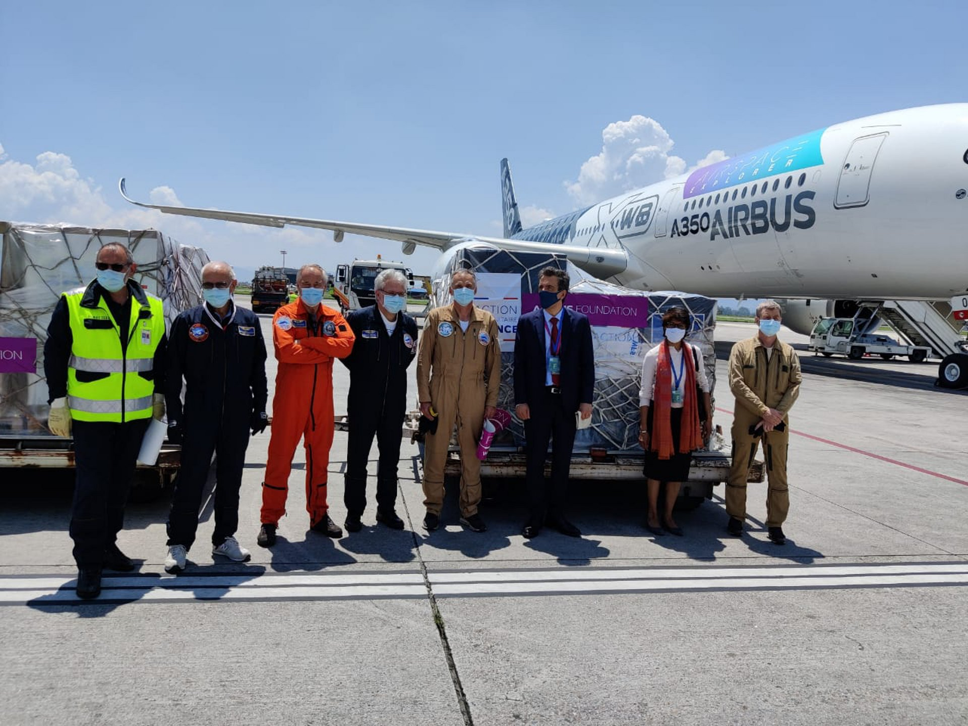 H.E. François-Xavier Léger, Ambassador of France to Nepal, and Ms. Leela Devaradjalou, Deputy Chief of Mission, Embassy of France in Nepal, with the crew of an A350 test flight that delivered Covid-19 relief cargo donated by the French Ministry for Europe and Foreign Affairs' Crisis and Support Centre (CDCS). The solidarity mission was supported by the Airbus Foundation, which helped move the medical supplies from Toulouse, the headquarters of Airbus, to Kathmandu on Wednesday, June 2, 2021