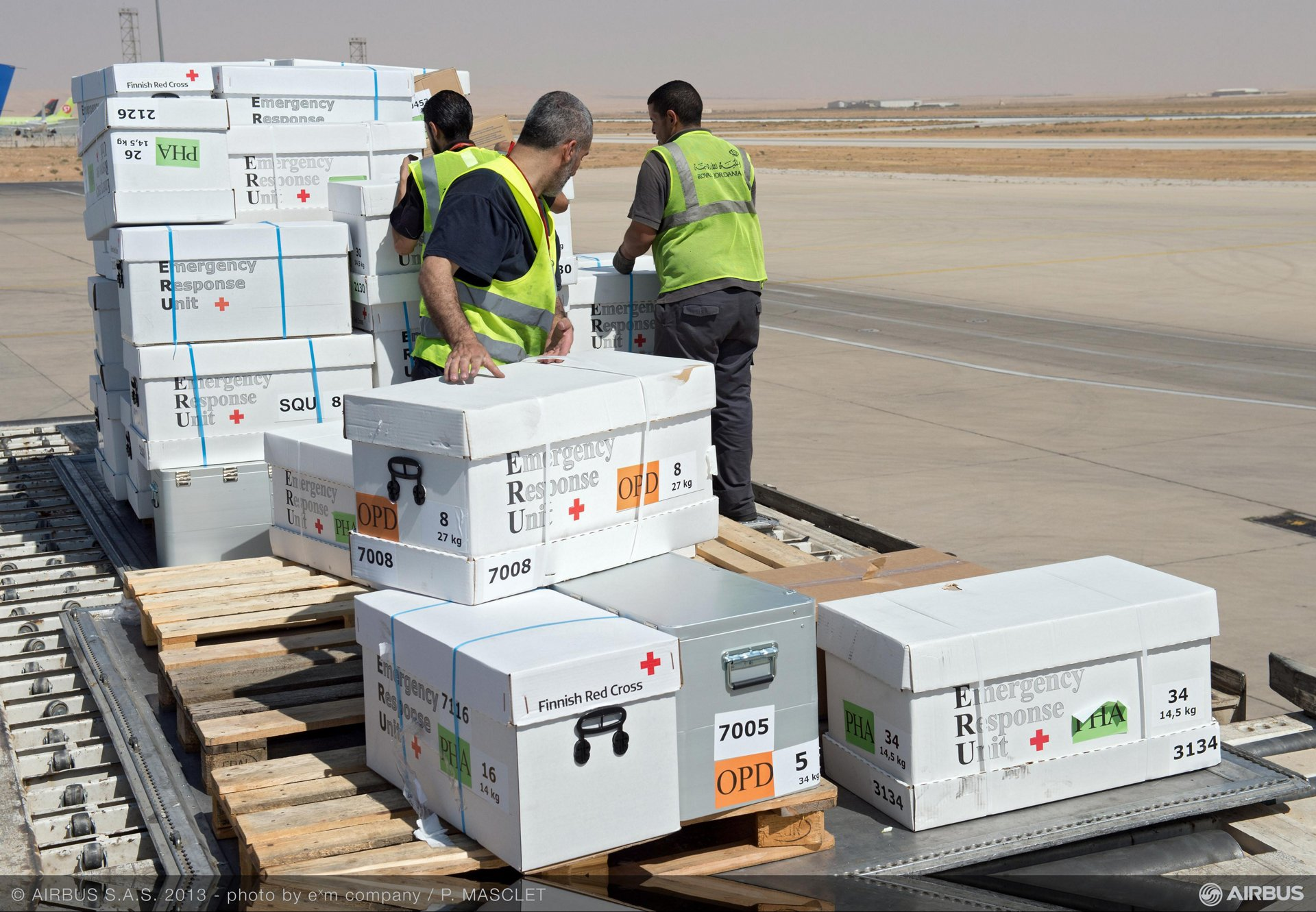 Twenty-five tonnes of medical equipment and supplies were transported to Syrian refugees in Jordan on 21 August 2013, by an Airbus flight arranged between the Airbus Corporate Foundation and the International Federation of Red Cross and Red Crescent Societies (IFRC)