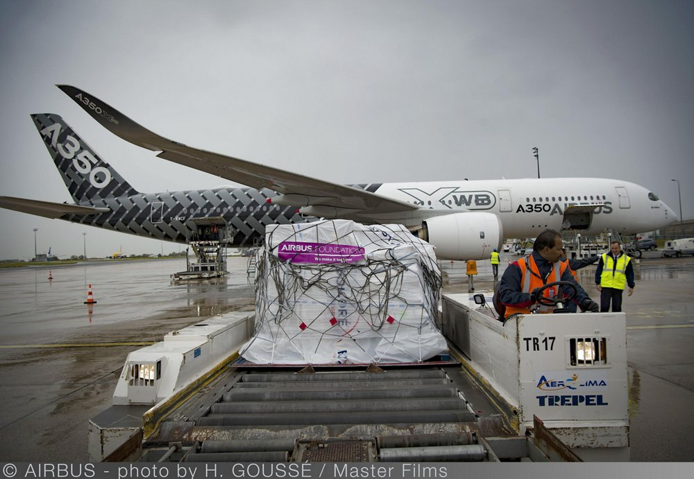 Ground cargo operations are shown with an Airbus A350 XWB.