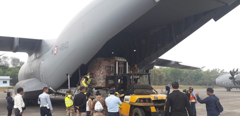 A400M delivers humanitarian goods to earthquake victims in Lombok, Indonesia.