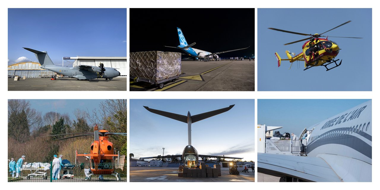 Airbus' wide-ranging support in the global fight against COVID-19 is highlighted in this photo montage, which shows activities involving the company's commercial aircraft, military transports and helicopters.