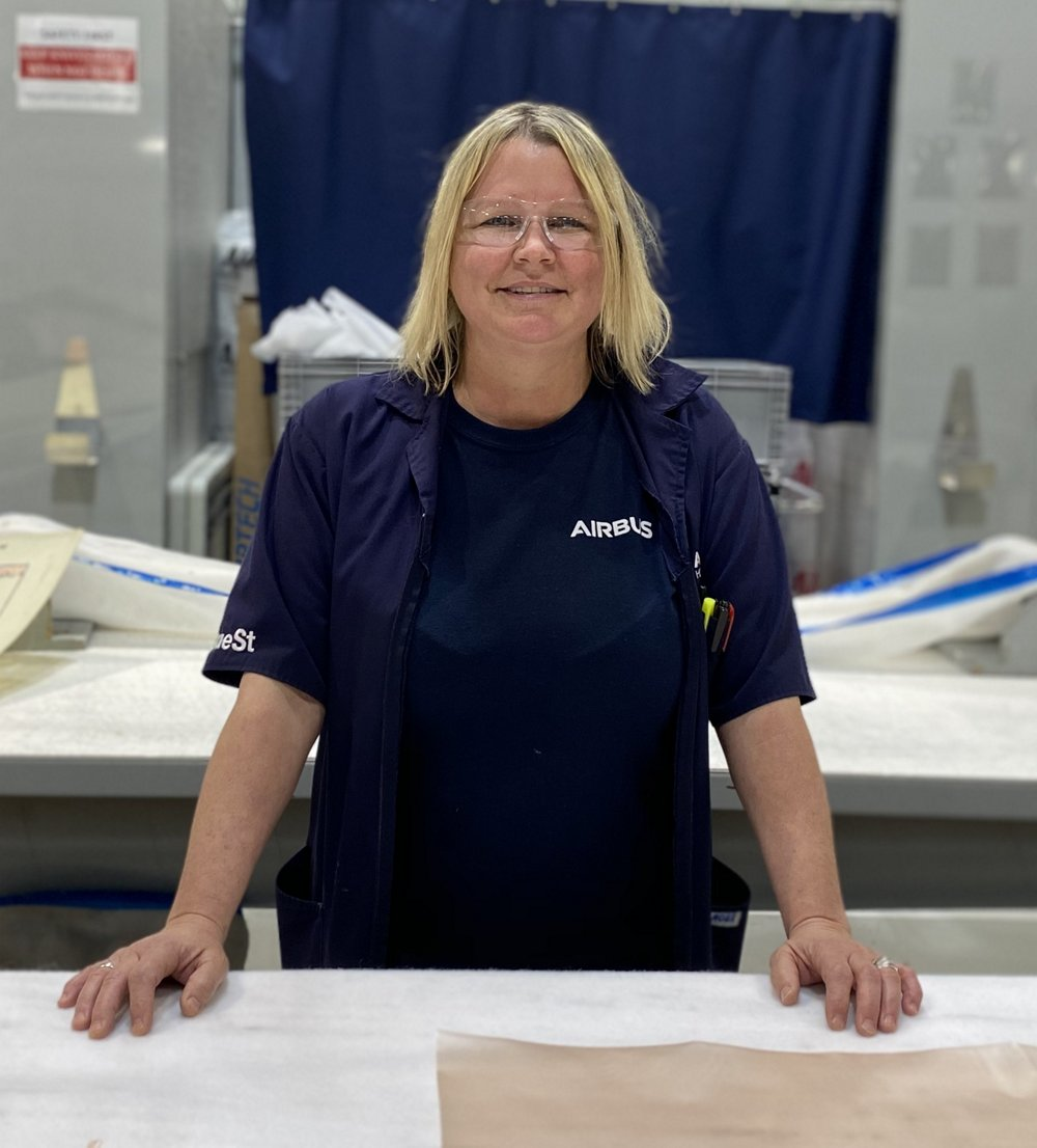 Krista Bauer works in Composite Layup, an area where women make up 72% of our workforce.