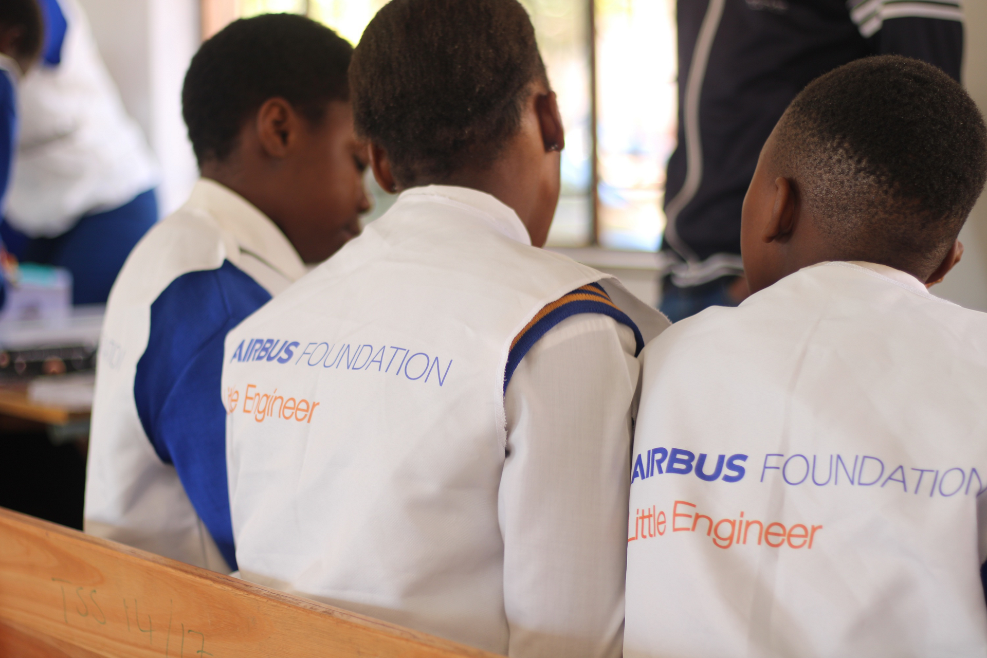 Students participate in an Airbus Foundation Little Engineer workshop