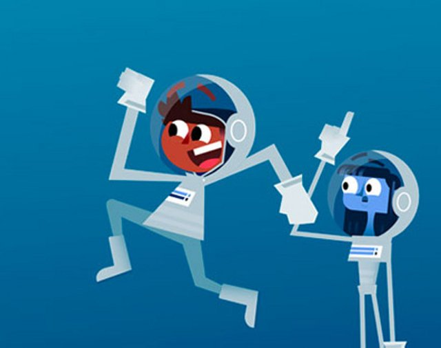 Cartoon characters of boy and girl in astronaut suits