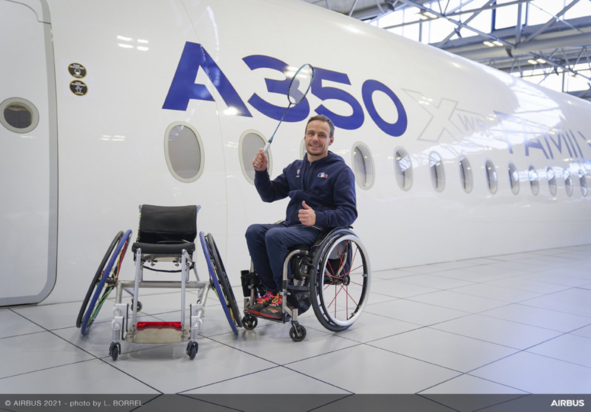 Airbus engineers have designed and developed a high-performance wheelchair that is specially adapted to French para-badminton champion David Toupé's needs.