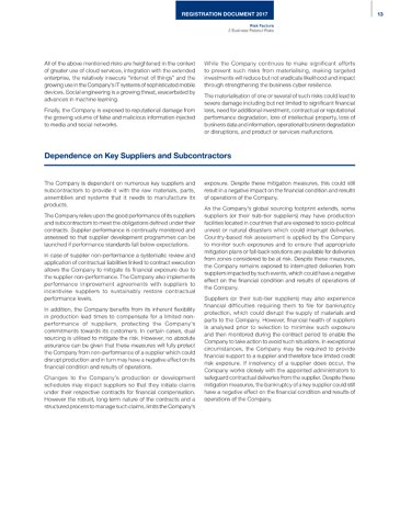 Annual Report 2017 : Registration Document 2017 - Dependance on Suppliers and Subcontractors
